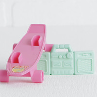 Vintage Barbie Skateboard and Boom Box, Pink Plastic Skateboard and Seafoam Green Radio, 1987 80s Mattel Barbie Accessories