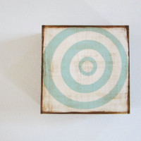 Bullseye Modern 5x5 art block wood Circles Blue White  graphic modern pattern shapes red tile studio