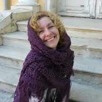 Crochet evening shawl in dark purple