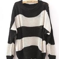 Color Block Loose Black Sweater$40.00