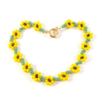 Girls Sunflower Bracelet: Yellow Seed Bead Childrens Flower Bracelet Beaded