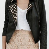 Black Rivet Embellished Lapel PU Leather Jacket - Sheinside.com
