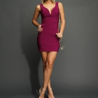 Plum Plunging V Banded Dress
