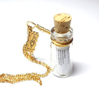 Love Song in a Bottle necklace. Yellow by Coldplay. Gold FREE SHIPPING. Buy 2 and 3rd one is free