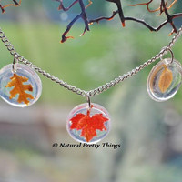 Autumn Necklace Fall Leaves Brown Red Maple Oak Birch Pressed Leaf Miniature Transparent Droplet Airy Botanical Necklace Pendant