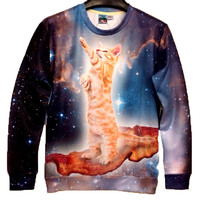 Kitty Cat Riding on Bacon in Space All Over Print Unisex Pullover Sweatshirt Sweater | Gifts for Cat Lovers - One