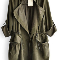 Amy Green Drape Collar Pockets Long Sleeve Drawstring Outerwear - Sheinside.com