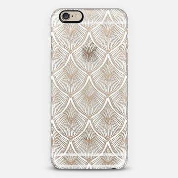 White Art Deco Lace on Crystal Transparent iPhone 6 case by Micklyn Le Feuvre | Casetify