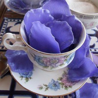 Lilac flower petal soap in vintage cup. £12.50