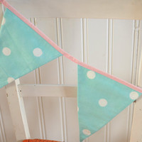 Blue & White Spotty Bunting - Kitchen/Nursery/ Bedroom/