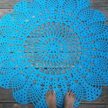 """Turquoise Cotton Crochet Rug in Large 42"""" Circle Pineapple Lacy Pattern"""