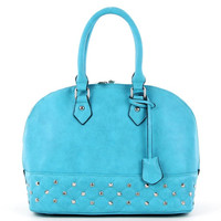 Round Satchel with Rhinestone in Blue