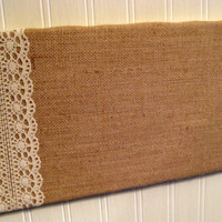 College Dorm, Country Chic Burlap and Lace Bulletin Board, Wedding Memo Board, tack board, 8 x 16 inches