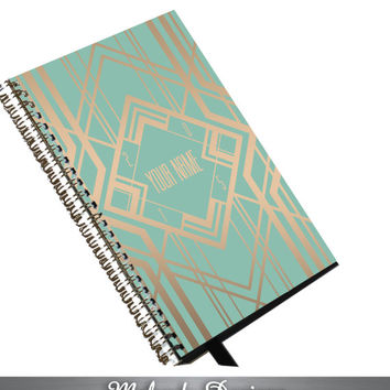 2015 Planner Mint Art Deco Personalized To Do List Spiral Bound Calendar Book