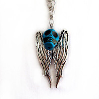Turquoise Skull and Wings Necklace