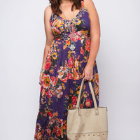 Purple Floral Print Tiered Cotton Maxi Dress With Sequin Detail