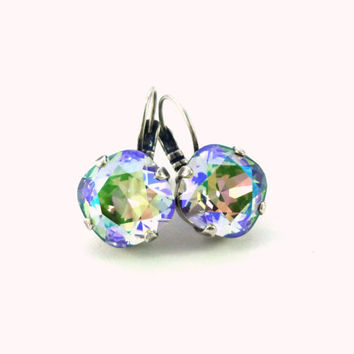 Swarovski crystal earrings, 12mm square cut, Paradise Shine, lever-back, designer inspired crystal earrings.