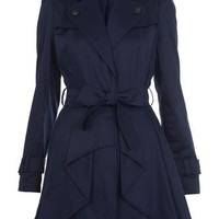 Navy Waterfall Front Mac - Macs - Coats & Jackets - Clothing - Miss Selfridge