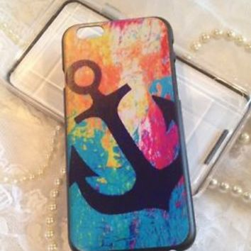 "iPhone 6 4.7"" Case Cover Bumper Shell Pink Blue Anchor Colorful Design Bling"