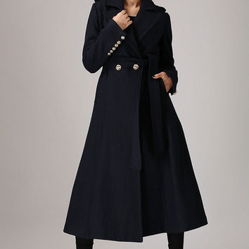 Blue Military Cashmere Coat - Luxury Long Winter Jacket with Cuff Button Detail - Great  Christmas Gift  (750)