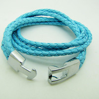 Blue Real Leather Woven Women Leather Cuff  Bracelet Women Bangle 1296A