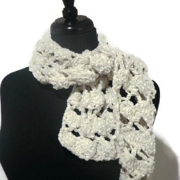 silver and white chenille scarf, crochet scarf, winter scarf