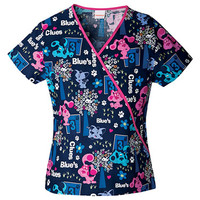 Tooniforms by Cherokee Women's Mini Mock Wrap Blue's Clues Print Scrub Top