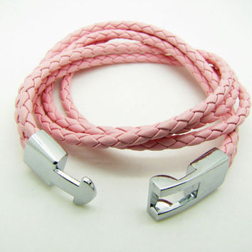Pink Real Leather Woven Women Leather Cuff  Bracelet Women Bangle 1297A