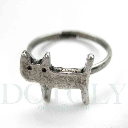 Small Small Cat Animal Ring - Adjustable in Silver with Antique Finish