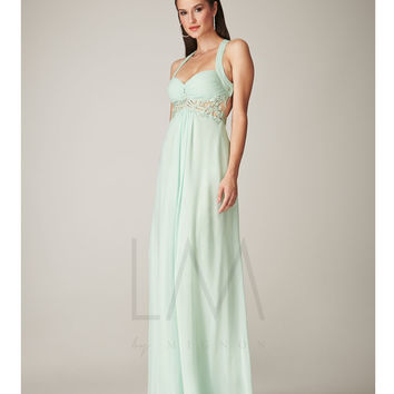 LM by Mignon Mint Chiffon Empire Waist Open Back Dress Prom 2015