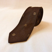 1950s Mad Men 100% Silk Brown Tie With Snowflake Design