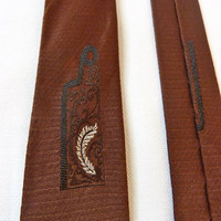 1950s Mad Men Hand-tailored 100% Silk, Brown Tie with Feathers