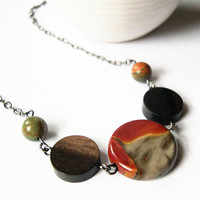 Picasso Jasper Necklace - Stone Jewelry, Wood, Beaded, Rust, Gray, Orange, Bown, Yellow, Fall Jewelry, Autumn Jewellery