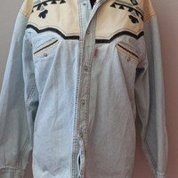 1980s Denim Shirt with Leather Trim, Unisex M