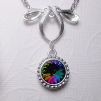 Dazzling Hues Crystal Necklace With Elegant Arch - Swarovski Crystal Element