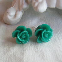Forrest Green Shabby Chic Dahlia Rose Post Earrings 14mm