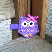 Felt Embroidered Owl Hair Clippie - Penelope the Purple Owl