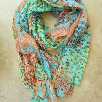Charming Peacock Feather Scarf [2252] - $21.00 : Vintage Inspired Clothing & Affordable Summer Dresses, deloom | Modern. Vintage. Crafted.