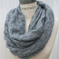 Chunky Infinity Knit Scarf Ivory Gray Winter Fall Fashion Women Shawl Loop Scarf Handmade 100% Acrylic Yarn - by PIYOYO