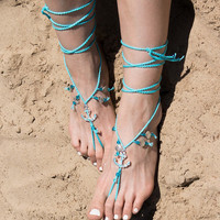 Barefoot Sandals Boho Hippie Bare Foot Jewelry Beaded Sandles Beach Wedding Nude Shoes Festival Anklet Yoga Bohemian Toe Thongs