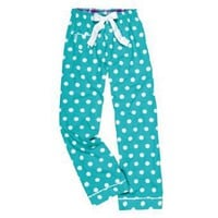 Youth I Sea Spots Aqua and White Polka Dot VIP Flannel Pants for lounging, sleep, sports. Unisex...