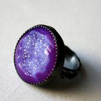 Black and Purple Oxidized Sterling Silver Ring with by luckyduct