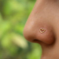 Valentine Heart Nose Ring Stud 14K Gold Filled Handcrafted Heart Shape