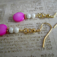 Pure Cotton White Czech Glass Earrings Copper Purple Pink Fuchsia Mother of Pearl Shell Beaded Jewelry