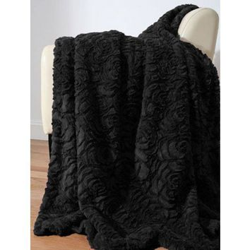 Luxe Rose Fur Throw