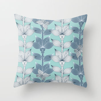 WHITE AND BLUE FLOWERS Throw Pillow by Juliagrifol Designs