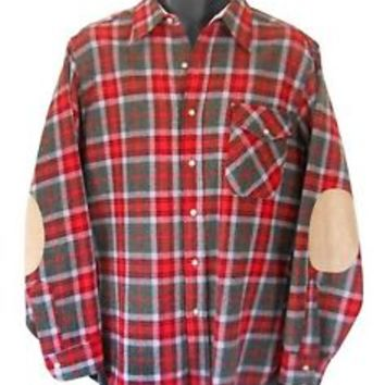 Pendleton Wool Shirt Flannel Elbow Patch Red Plaid Medium Army Military Green