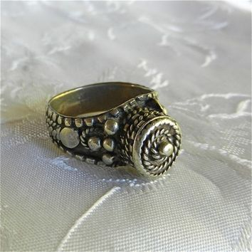 Antique Yemen Silver Ring Made by Early Nineteen Hundreds Silversmith