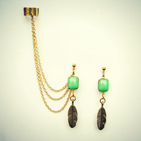 mint green and golden feather ear cuff, feather earrings, mint green earrings, tribal feather, gold earrings
