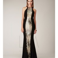 LM by Mignon Black Sequin Open Back Sheath Dress Prom 2015